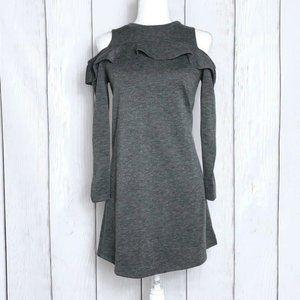 Loft Petite Heather Gray Off Shoulder Sweater Midi